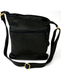 [Victoria Leather Dee Handbag with Two Outside Pockets and Cross-Body Strap]