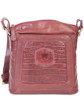 [Hidesign by Scully Crocodile Embossed Leather Emblem Handbag]