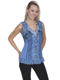 [Honey Creek by Scully Ladies Knit Lace Camisole]