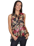 [Honey Creek by Scully Ladies Rose Print Hi Low Sleeveless Blouse]