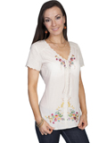 [Honey Creek by Scully Ladies Embroidered Cotton Blouse]