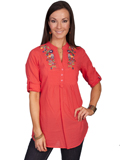 [Honey Creek by Scully Ladies Floral Embroidered 3/4 Sleeve Cotton Blouse]