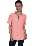 [Honey Creek by Scully Ladies Lace Embroidered 3/4 Sleeve Blouse]