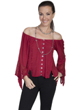 [Honey Creek by Scully Ladies Button Front Off Shoulder Blouse]