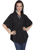 [Honey Creek by Scully Ladies Solid Rayon Poncho Blouse]