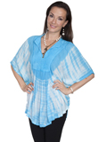 [Honey Creek by Scully Ladies Tie Dye Rayon Poncho Blouse]