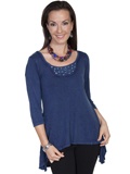 [Honey Creek by Scully Ladies Hi Low Embellished Scoopneck Rayon Blouse]