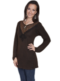 [Honey Creek by Scully Ladies V-Neck Lace Embroidered Top]