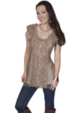 [Honey Creek by Scully Ladies Front Lace Embellished Blouse]