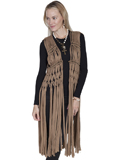 [Honey Creek by Scully Ladies Knotted Macrame Fringe Beaded Vest]