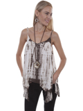 [Honey Creek by Scully Tie Dye Fringe Rayon Tank]