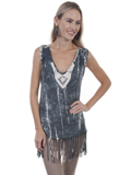 [Honey Creek by Scully Fringe Tie Die Rayon Tank]