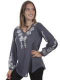 [Honey Creek by Scully Embroidered V-Neck Viscose Blouse]
