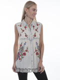 [Honey Creek by Scully Embroidered Vintage Peacock Sleeveless Blouse]