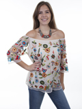 [Honey Creek by Scully Floral Garden Embroidered Mesh Blouse]