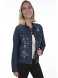 [Honey Creek by Scully Tonal Floral Embroidered Denim Jacket]
