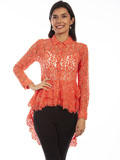 [Honey Creek by Scully Floral Lace Button Up Double Ruffle Blouse]