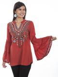 [Honey Creek by Scully Embroidered V-Neck Double Tiered Sleeve Tunic]