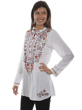 [Honey Creek by Scully Button Up Bib Embroidered Blouse]