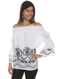 [Honey Creek by Scully Off Shoulder Embroidered Blouse]