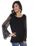 [Honey Creek by Scully Crochet Lace Sleeves Knit Top]