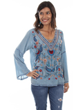 [Honey Creek by Scully Lace Up V-Neck Embroidered Blouse]