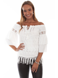 [Honey Creek by Scully Double Ruffle Sleeve Tiered Lace Blouse]