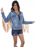 [Honey Creek by Scully Colorful Fringe Denim Jacket]