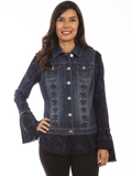 [Honey Creek by Scully Button Up Denim Vest with Laced Front Panels]