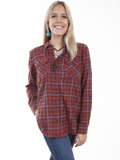 [Honey Creek by Scully Lace-Up Back Plaid Blouse]