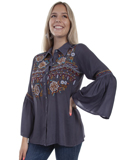 [Honey Creek by Scully Bell Sleeve Embroidered Blouse]