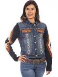 [Honey Creek by Scully Aztec Sweater Sleeve Embroidered Denim Jacket]
