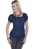 [Honey Creek by Scully Ladies Rayon Multi Fabric Blouse]