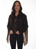 [Honey Creek by Scully Black Jean Jacket with Leopard Print Fringe]