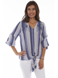 [Honey Creek by Scully Tie Front Embroidered Top]