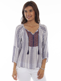 [Honey Creek by Scully Embroidered Peasant Top]