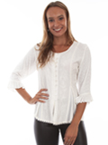 [Honey Creek by Scully Ladies Rayon Multi Fabric 3/4 Sleeve Blouse]