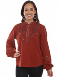 [Honey Creek by Scully Embroidered Yoke Long Sleeve Blouse]