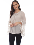 [Honey Creek by Scully Raglan Floral Crochet Blouse]