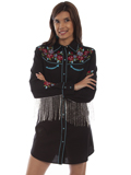 [Honey Creek by Scully Embroidered Beaded Fringe Shirt Dress]