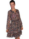 [Honey Creek by Scully Ladies Feather Print Long Sleeve Dress]
