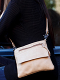 [Victoria Leather Hipster Messenger Handbag]