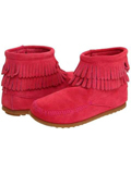 [Minnetonka Kid's Side Zip Double Fringe Layer Bootie]