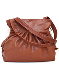 [Victoria Leather Kristen Pleated Handbag]