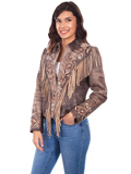 [Scully  Ladies Lamb Suede Embroidered Fringe Jacket]