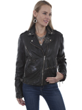 [Scully  Ladies Vintage Lamb Leather Studded Motorcycle Jacket]