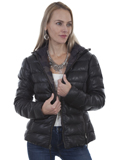 [Scully  Ladies Premium Lamb Reversible Ribbed Hooded Leather Jacket]