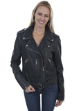 [Scully  Ladies Vintage Lamb Leather Belted Motorcycle Jacket]