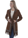 [Scully  Ladies Boar Suede Embroidered Trim Fringe Coat]