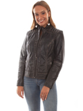 [Scully  Women's Vintage Lamb Leather Motorcycle Jacket]